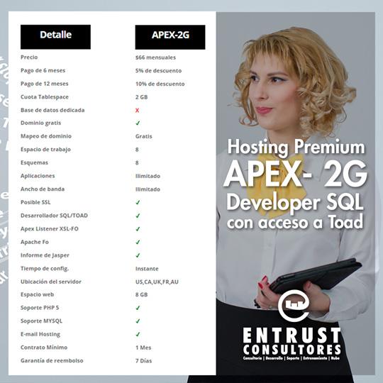 Hosting Premium APEX Developer SQL o acceso a Toad 2G